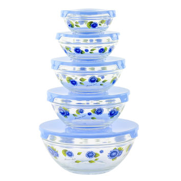 10 Piece Glass Food Storage Container Set With Lids and Flower Design