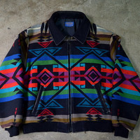Vintage 80's Pendleton Bright Native Navajo Blanket Jacket Size X Large