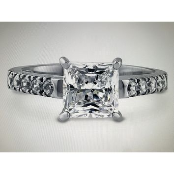 2CT Princess Cut Russian Lab Diamond Engagement Ring