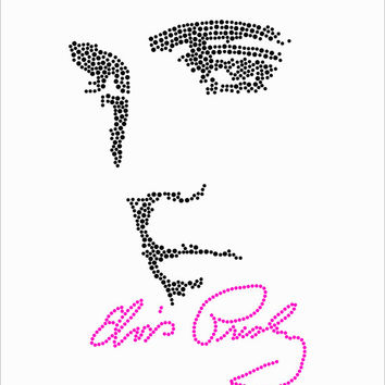 Elvis Presley Rhinestone Iron On Heat Transfer - DIY Iron On Rhinestone Transfer