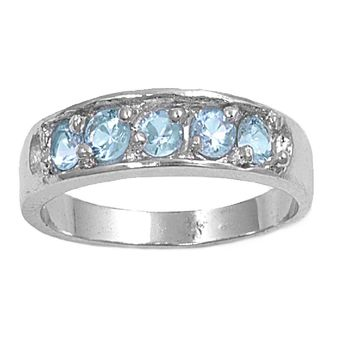 Sterling Silver Five Stones Center CZ Aquamarine 4MM CZ Petite Rings