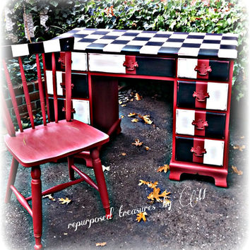 Distressed vintage handpainted desk and chair sturdy dovetailed ! whimsical, colorful, red, black & white! checkered, checkerboard