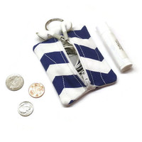 Royal blue and white chevron pouch, earbuds holder, earbud case, small coin purse, purse key chain, change bag, lip balm case, zipper pouch