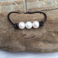 Brown leather freshwater pearl bracelet; pearls on leather; leather and pearls;pearl bracelet; pearl and leather bracelet
