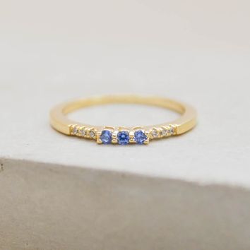 Eternity Ring w/ 3 Blue Stones - Gold