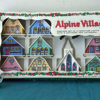 Putz Alpine Village Plastic Lighted House Set in Original Box with Cathedral