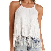 Embroidered Mesh Fringe Tank Top by Charlotte Russe