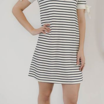 Striped Short Sleeve Dress - Navy