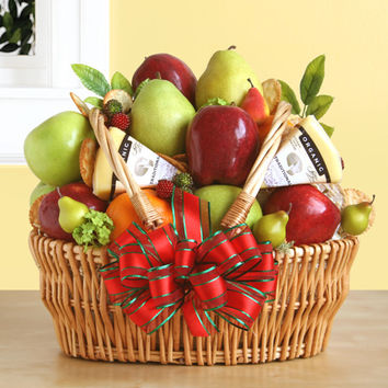 Sweet Fresh Fruits & Cheese Gift Basket