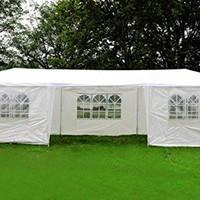 MCombo 10'x30' White Canopy Party Outdoor Gazebo Wedding Tent 7 Removable Walls 6053-W1030w-7PC