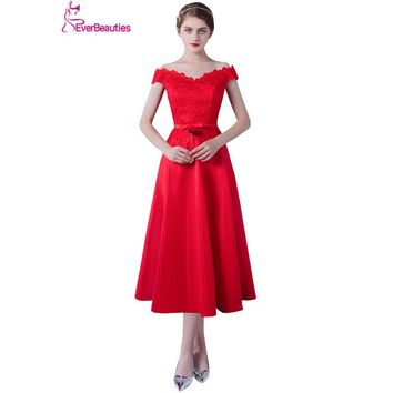 Bridesmaid Dress 2017 Satin Appliqued Tea-Length  Apvestido de la dama de honor Party Gown Wedding Prom Dress for Bridesmaid