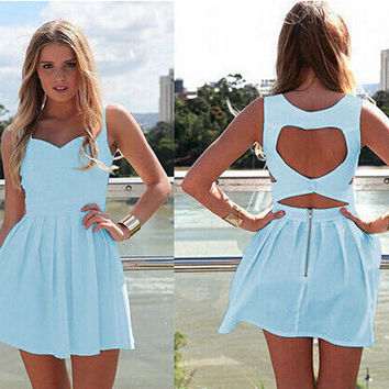 Heart Shape Cut Out Back Mini Dress