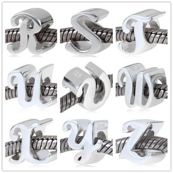 pure silver jewelry 925 Sterling Silver alphabet Letters Charm Q-Z charms Beads Fit Pa
