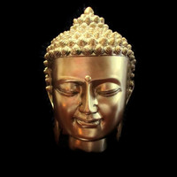 "Gold Buddha head statue 8"" for home and office decor"
