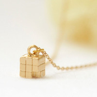 Tiny Cube drop Necklace