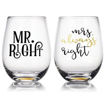 quotMr Right amp Mrs Always Rightquot  22oz Stemless Wine Glasses Set of 2 Gift for Wedding Married Couple for Engagement Gifts