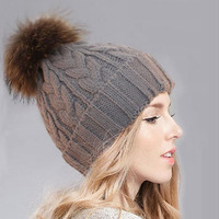 Knitted Removable Fur Stretch Headgear