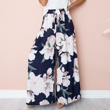 Loose High Waist Floral Wide Leg Pants