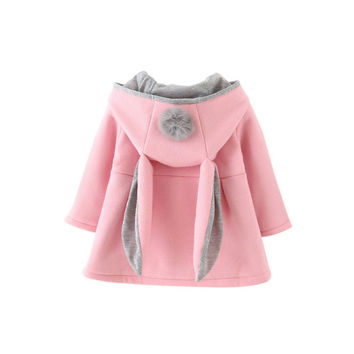 Winter Cute Baby Girls Clothes Rabbit Woolen Blend Children Jacket Overcoat Hooded Warm Coat