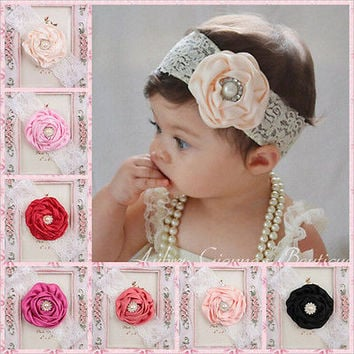 Kids Baby Girl Headwear Toddler Lace Pearl Flower Headband Hair Band Headwear HU
