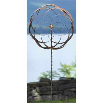 Handcrafted Copper Plated Metal Flower Pinwheel Wind Spinner
