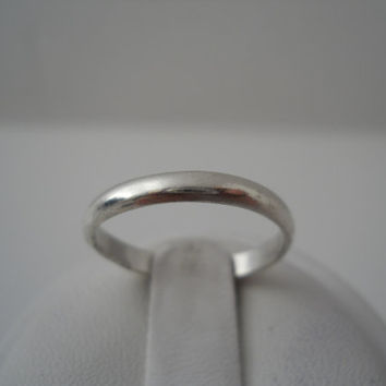 Sterling Silver 925 Small Plain Band Ring Size 7 925