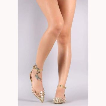 Gold Monica Transparent Studded Pointy Toe Patent Ankle Strap Flat