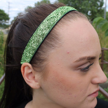 Nonslip Green Glitter Headband – No Slip Stretchy Sports Headband – Ribbon & Elastic Hair Accessory – Athletic Head Band – Softball Gift