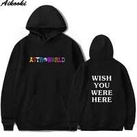 Travis Scotts ASTROWORLD Hoodies Men/Women Sweatshirt Hip Hop Hooded Print ASTROWORLD Hoodies 2018 Male Sweatshirts Plus Size