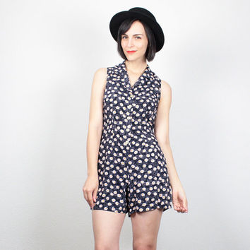 Vintage 90s Romper Navy Blue Daisy Floral Print Playsuit 1990s Soft Grunge Shorts Jumper Sunflower Mini Overalls Outfit XS Extra Small S