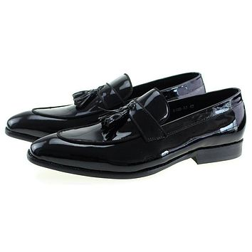 Black Blue Genuine Patent Leather Mens Wedding Dress Shoes Formal Banquet Man Slip On Loafers With Tassel