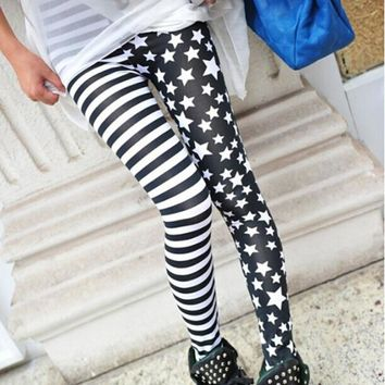 Hot Sale New  Ladys Girls Fashion Charming Cool Punk Style Sexy Lady Womens Stripe Star Skinny SlimStretchy  Leggings 20161 pc