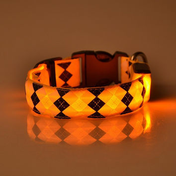 Pets Dogs Night Safety Rhombus Pattern Collar Light Night Up Nylon LED Adjustable Collars S M L XL Halloween Orange