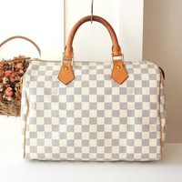 Louis Vuitton Bag Damier Azur White Speedy 30 Tote vintage Authentic Handbag