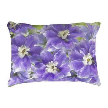 Purple Larkspur Floral Photo Decorative Pillow