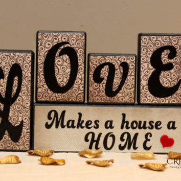 Love saying - set of 5 wood blocks