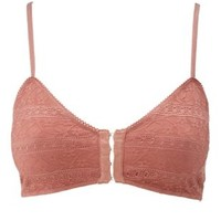 Rust Caged Front-Fastening Lace Bralette by Charlotte Russe
