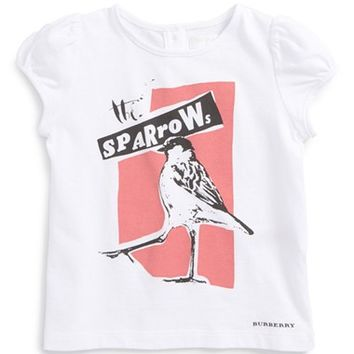 Infant Girl's Burberry 'The Sparrows' Graphic Print Cap Sleeve Tee,