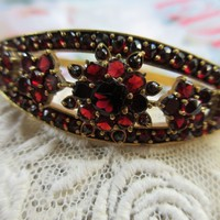 Antique Bohemian Garnet Bangle Bracelet