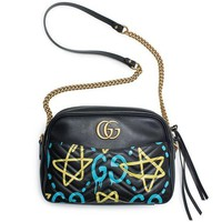 Gucci Ghost Gg Marmont Black Graffiti Leather Shoulder Bag Handbag Italy New 1