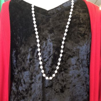White Beaded Necklace w/ Black Veins