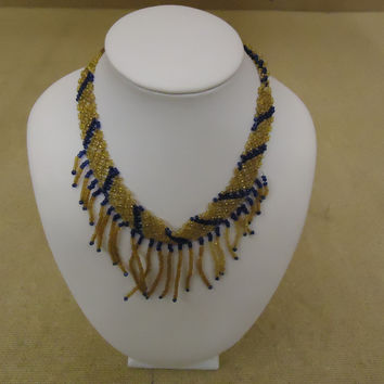 Designer Fashion Necklace 13in L Beaded/Strand Bib Female Adult Browns/Blues -- Preowned