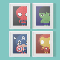 4 Baby Marvel Superheroes Nursery Prints - Art Print, Nursery Art, Baby Wall Art, Cute Superheroes, Childrens Home Decor