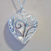 eBlueJay: Puffy Filigree Heart Pendant Necklace Valentines Day Jewelry Fashion Accessories For Her