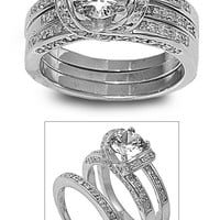 925 Sterling Silver CZ Set of 3 Round Center Engagement/ Wedding Ring 8MM