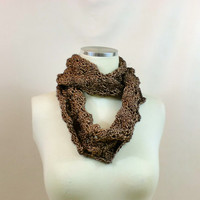 Lace Shimmery Infinity Scarf Circle Cowl Mobius Brown Chocolate Endless Fancy Elegant Knit