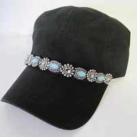 Black Garment Washed Light Weight Trucker Baseball Cap with Gorgeous Turquoise Beaded Band Accent Hats Accessories Womens Hats