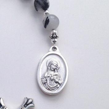 Sacred Heart of Jesus Chaplet, Tourmalinated Quartz, Pocket Rosary, Rosary Beads, Immaculate Heart of Mary, Single Decade Rosary