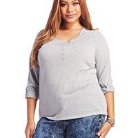 3/4 Sleeve Henley Top | Wet Seal+