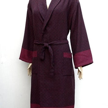 Women's burgundy and glack colour Turkish soft cotton dressing gown, bathrobe with no hood, morning gown.